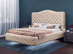 Karališko dizaino lova su šviesiu veliūru. Lova atrodo lyg sklandytų ore!