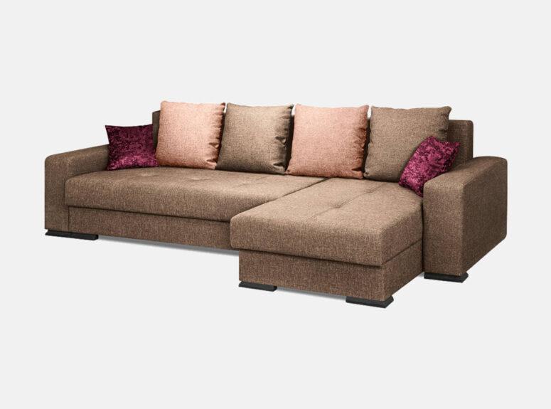 Rudos spalvos minkštasis kampas su bordo ir rožinėmis pagalvėlėmis. Kampas turi patalynės dėžę