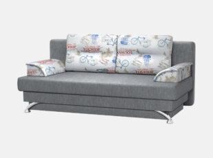 Pilkos spalvos sofa lova ant kojelių su nuimamais porankiais ir dekoratyvinėmis pagalvėlėmis