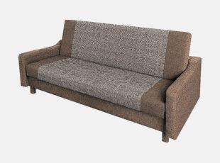 Rudos spalvos sofa lova su medinėmis kojelėmis, patalynės dėže ir miegamąja dalimi
