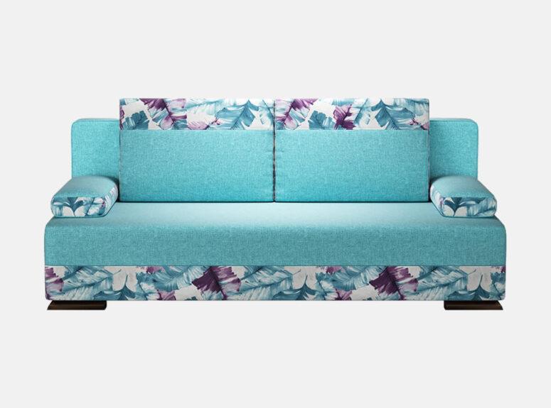 Ryškios mėlynos spalvos sofa-lova su plunksnų raštais, nuimamais porankiais ir patalynės dėže