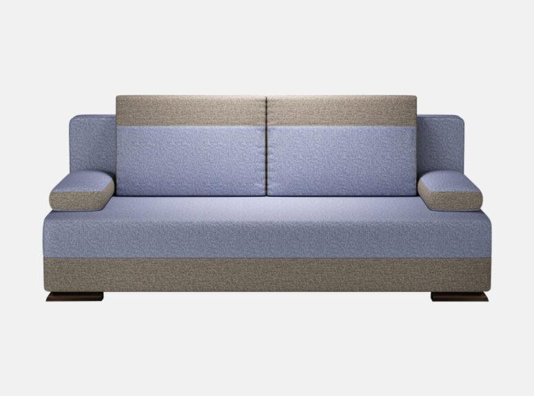 Bravo - mėlynos spalvos stilinga sofa lova su nuimamais porankiais ir medinėmis kojelėmis. Sofa su miegojimo funkcija