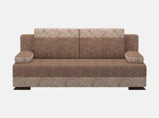 Rudos spalvos sofa lova su nuimamais porankiais ir patalynės dežė