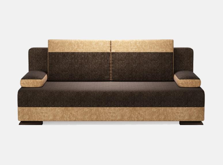 Tamsiai rudos spalvos sofa lova su nuimamais porankais ir patalynės dėže