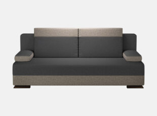 Tamsiai pilkos spalvos sofa lova su nuimamais porankais ir patalynės dėže