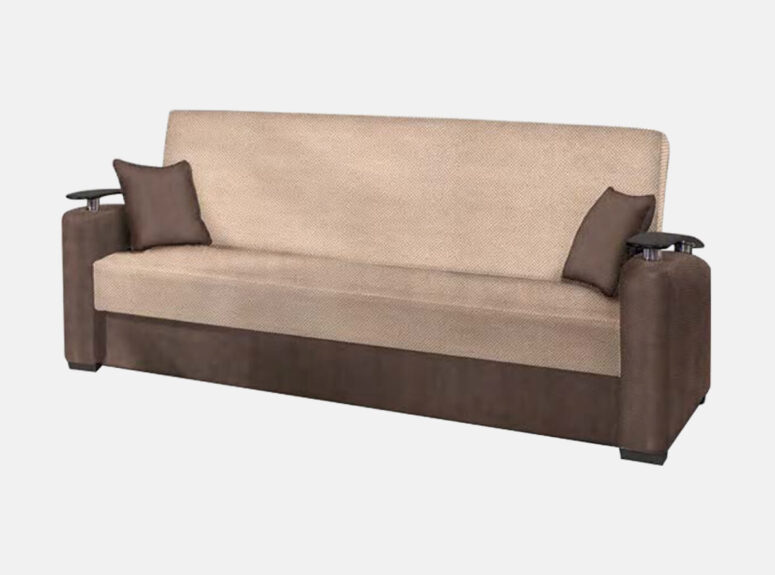 Meridian dvispalvė ruda sofa lova su mediniais porankiais ir dviem dekoratyvinėmis pagalvelėmis