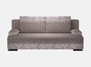 Pilkos spalvos sofa-lova bravo su mažyčių rožių raštais, nuimamais porankiais ir patalynės dėže. Sofa su neaukštomis kojelėmis