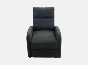 Pilkos spalvos fotelis su pakeliamų kojų mechanizmu, mechaninio reglainerio funkcija