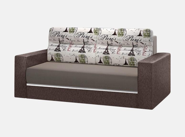 Sofa-lova su eko odos porankiais ir Paryžiaus miesto emblemomis ant pagalvių