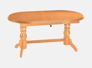 Alksnio spalvos išskleidžiamas stalas, kuris pailgėja ir pasiaukština