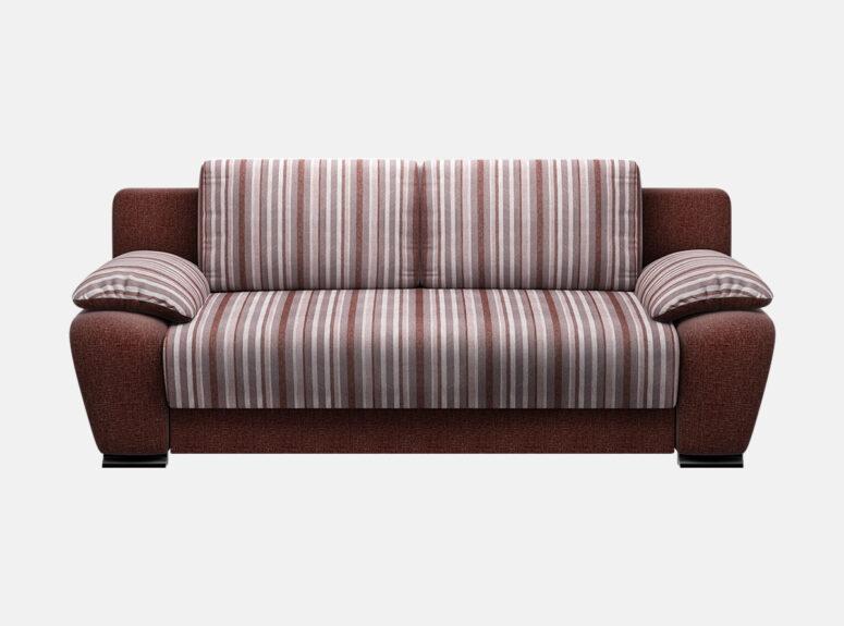 Spalvinga sofa-lova su nimamais porankiais ir patalynės dėže