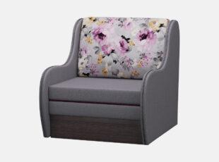 Junior pilkos spalvos vienvietis miegamasis foteliukas su ryškių gėlių raštais puošta pagalve