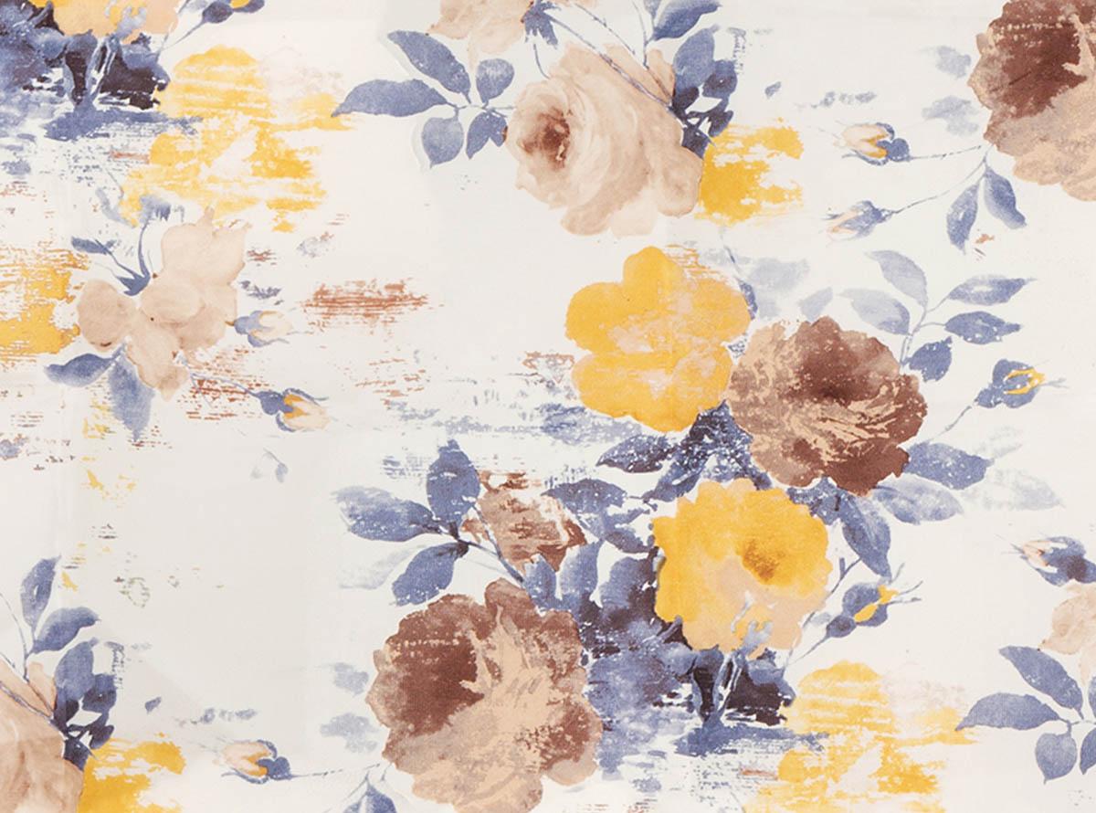 Švelnus gobelenas su spalvotais stambių gėlių raštais