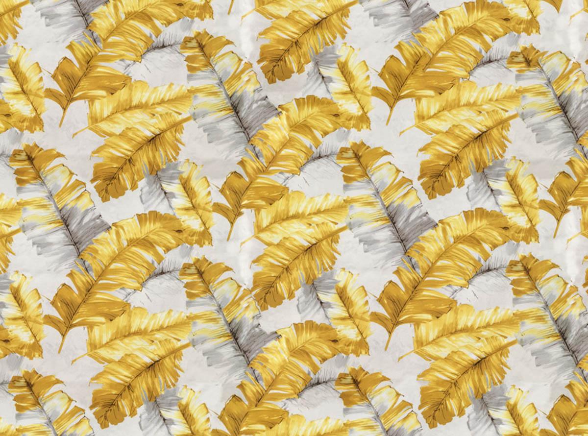 Švelnus gobelenas su spalvotomis geltonomis plunksnomis