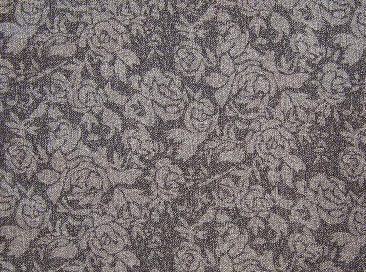 Pilkos spalvos švelnus gobelenas su smulkiu rožių raštu