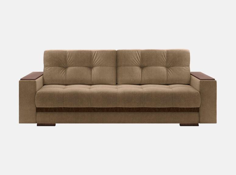 Rudos spalvos, švelnaus gobeleno sofa- lova su mediniais porankiais.