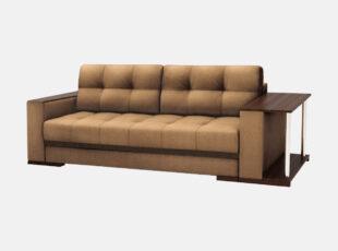 Rudos spalvos sofa lova su mediniais porankiais, patalynės dėže ir staliuku