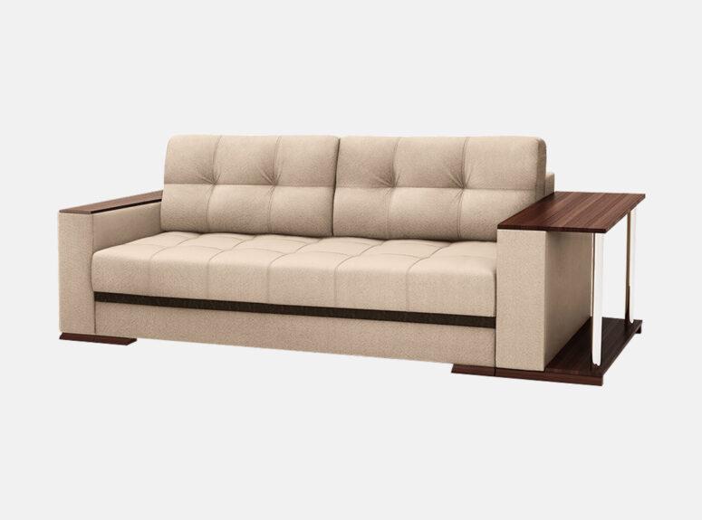 Šviesiai ruda, smėlio spalvos sofa lova su mediniais porankiais, patalynės dėže ir staliuku