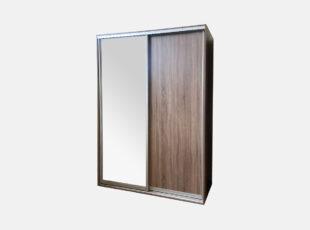 Dviejų stumdomų durų, triufel sonoma spalvos spinta su veidrodžiu