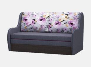 Pilkos spalvos miegamasis fotelis su ryškiomis gėlėmis puoštomis pagalvėmis, patalynės dėže ir miegojimo funkcija
