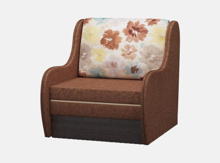 Rudos spalvos vienvietis miegamasis fotelis su gėlių raštais puošta pagalvę, patalynės dėže ir patogia miegojimo funkcija