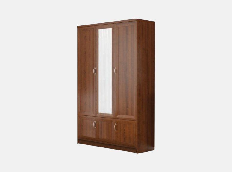 Kaštono spalvos trijų durų spinta su veidrodžiu