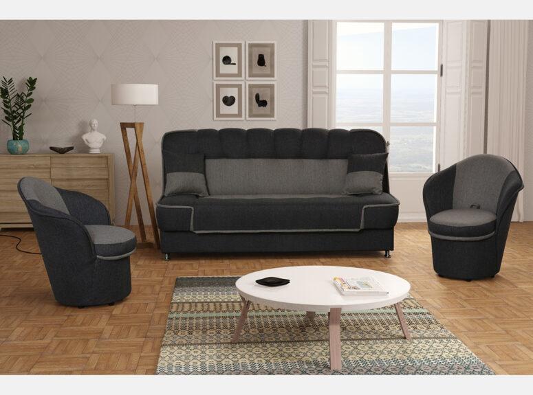 Patryk 3+1+1 tamsiai pilkos spalvos baldų komplektas