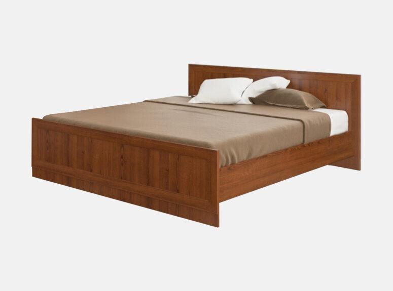 Dvigulė, medinė, kaštono spalvos miegamojo lova su grotelėmis be patalynės dėžės