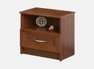 Kaštono spalvos naktinė spintelė sonata su vienu staliumi ir metaline rankenėle
