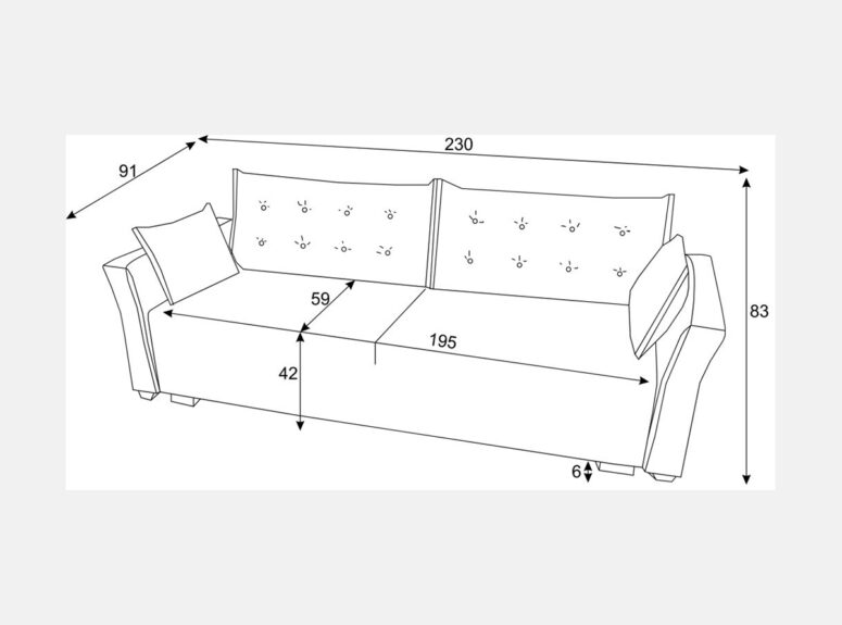 Elegantiško dizaino sofa-lova su dygsniuotomis pagalvėmis ir mažomis dekoratyvinėmis pagalvėlėmis. Sofa su miegojimo funkcija ir patalynės dėže
