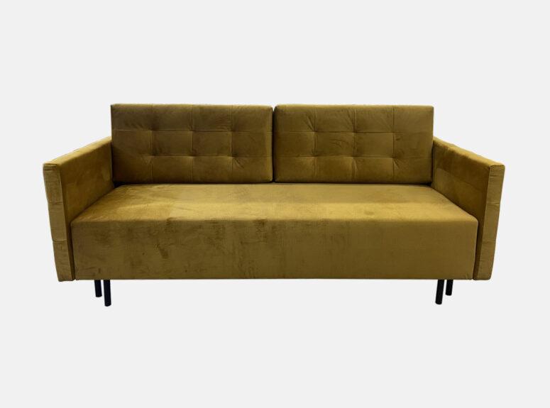 Garstyčių spalvos lietuvių gamybos sofa lova, pagaminta iš aukščiausios kokybės veliūrinio audinio. Sofa su miegojimo funkcija ir patalynės dėže