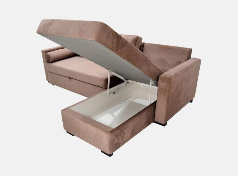 Kakavinės spalvos, veliūrinis, lietuvių gamybos minkštas kampas su patalynės dėže ir miegamąja dalimi