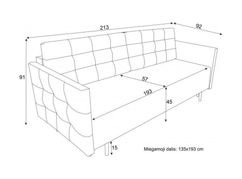 Lietuvių gamybos sofa lova, pagaminta iš aukščiausios kokybės veliūrinio audinio. Sofa su miegojimo funkcija ir patalynės dėže