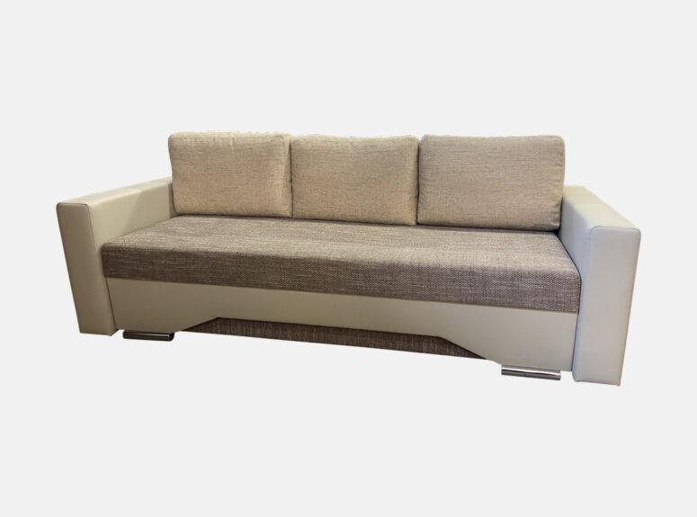 Smėlio spalvos daili lietuvių gamybos sofa-lova Roberta su odiniais porankiais, miegojimo funkcija ir patalynės dėže