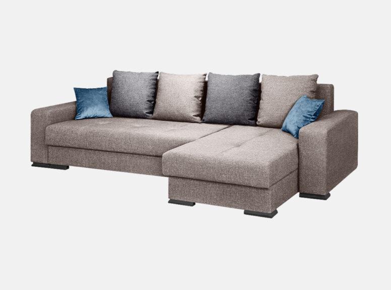 Šviesiai pilkos spalvos minkštas kampas su mėlynos spalvos veliūrinėmis pagalvėlėmis. Kampas su patalynės dėže, turime sandėlyje