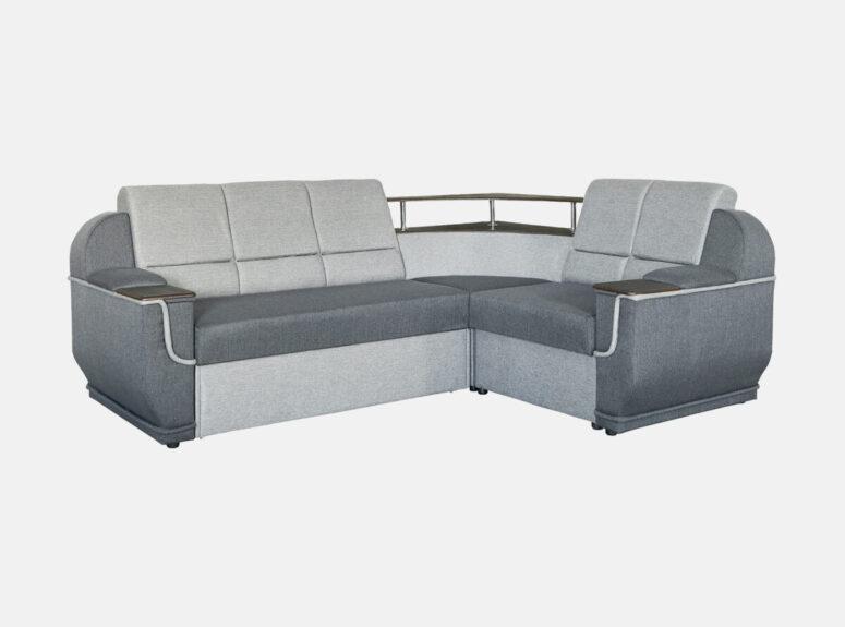 Pilkos spalvos didelis unoversalus svetainės kampas su medine lentyna, patalų dėže ir miegojimo funkcija