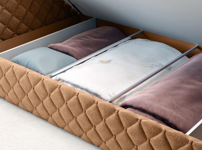 Rudos spalvos veliūrinė ergonimiška modernaus dizaino lova su patalynės dėže