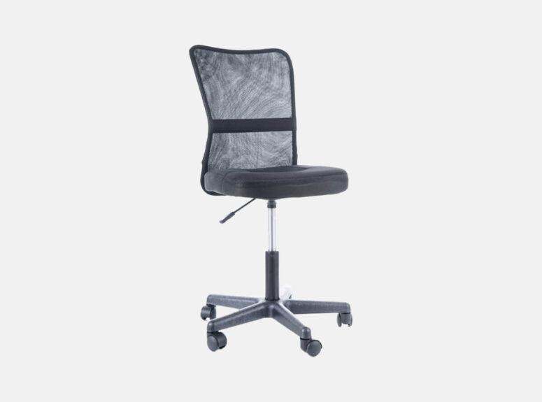 Juodos spalvos reguliuojamo aukščio darbo kėdė su ratukais. Turime sandėlyje, greitas pristatymas