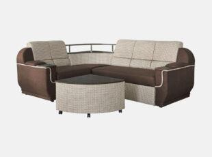 Dvispalvis rudas didelis svetainės unoversalus minkštas kampas su medine lentyna, patalų dėže ir miegojimo funkcija. Kampas su papildomu pufu