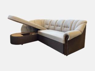 Šviesiai rudos ir tamsiai rudos spalvų derinio išskirtinio dizaino didelis minkštas kampas. Kampas su patalynės dėže