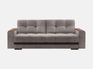 Pilkos spalvos moderni sofa-lova su medinėmis kojelėmis ir porankiais.