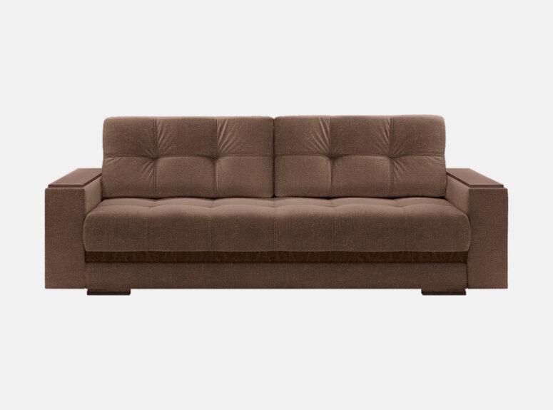 Tamsiai rudos spalvos moderni vidurinio kietumo sofa-lova su mediniais porankiais