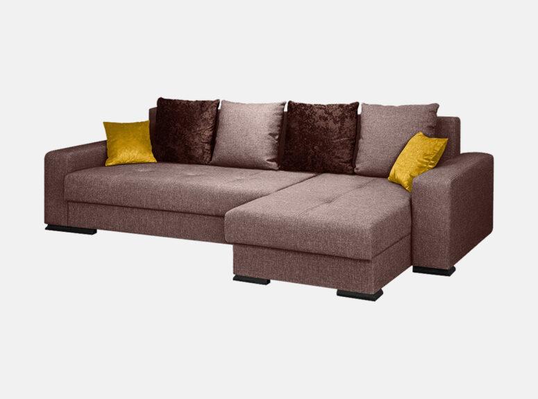 Šviesiai rudos spalvos minkštas kampas su tamsiai rudomis ir aukso saplvos pagalvėlėmis. Kampas turi patalynės dėžę