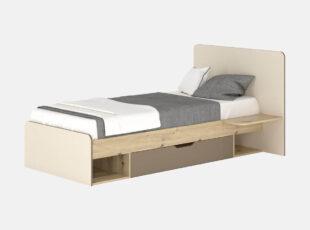 Vaikiška viengulė 90 cm pločio lova su grotelėmis ir patalynės dėže, lova šviesiai rudos, sampano ir latte spalvos